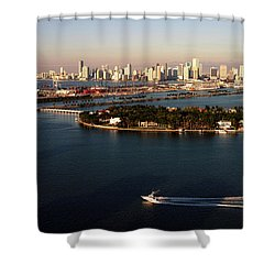 Retro Style Miami Skyline Sunrise And Biscayne Bay Shower Curtain