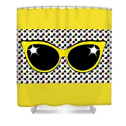 Shower Curtain featuring the digital art Retro Yellow Cat Sunglasses by MM Anderson