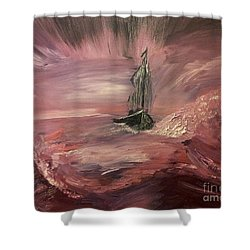 Return To Shores In Deep Red Shower Curtain