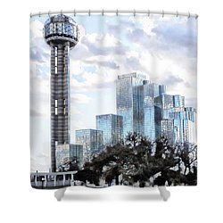 Shower Curtain featuring the photograph Reunion Tower Dallas Texas by Kathy Churchman