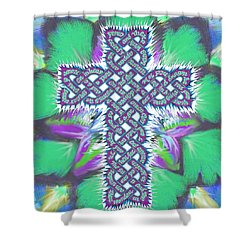 Shower Curtain featuring the painting Rev 12 Cross Flower by Hidden  Mountain