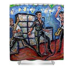 Revolution Rock The Clash Shower Curtain by Jason Gluskin