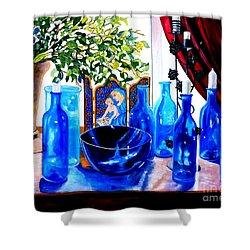 Rhapsody In Blue Shower Curtain by Caroline Street
