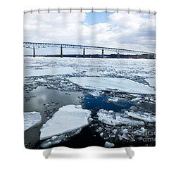 Shower Curtain featuring the photograph Rhinecliff Bridge Over The Icy Hudson River by Kristen Fox