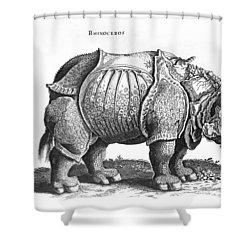 Rhinoceros No 76 From Historia Animalium By Conrad Gesner  Shower Curtain by Albrecht Durer