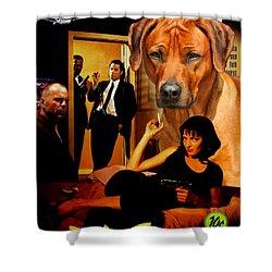 Rhodesian Ridgeback Art Canvas Print - Pulp Fiction Movie Poster Shower Curtain