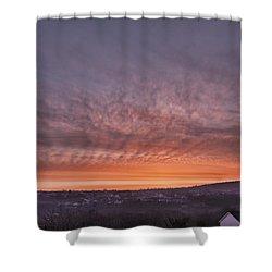 Rhymney Valley Sunrise Shower Curtain by Steve Purnell