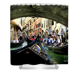 Rhythm Of Venice Shower Curtain by Jennie Breeze