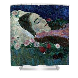 Ria Munk On Her Deathbed Shower Curtain by Gustav Klimt