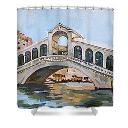 Rialto Bridge Shower Curtain by Filip Mihail