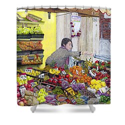 Rialto Market Shower Curtain by Albert Puskaric