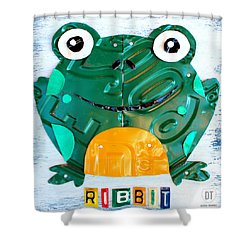 Ribbit The Frog License Plate Art Shower Curtain by Design Turnpike