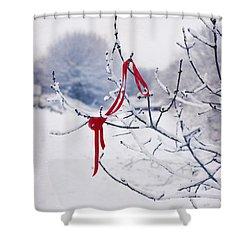 Ribbon In Tree Shower Curtain by Amanda Elwell