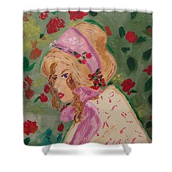 Ribbons And Roses Shower Curtain by Mary Carol Williams