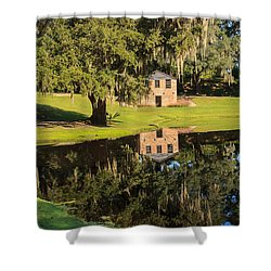 Rice Mill  Pond Reflection Shower Curtain