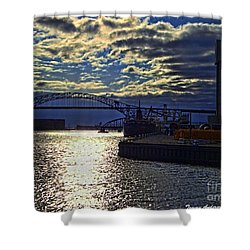 Richard I Bong Memorial Bridge Shower Curtain by Tommy Anderson