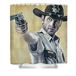 Rick Grimes Shower Curtain by Tom Carlton