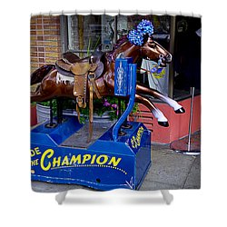 Ride The Champion Shower Curtain by Garry Gay
