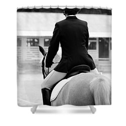Rider In Black And White Shower Curtain