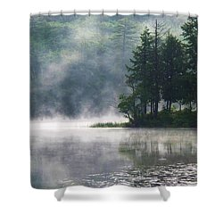 Ridge Road Morning Mist Shower Curtain by Joy Nichols