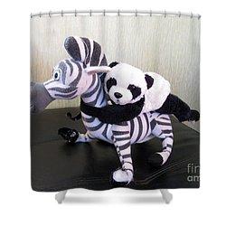 Shower Curtain featuring the photograph Riding A Zebra.traveling Pandas Series by Ausra Huntington nee Paulauskaite
