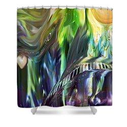 Riding The Wave Shower Curtain by Linda Sannuti