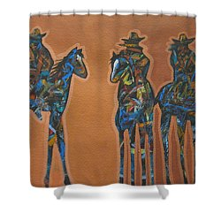 Riding Three Shower Curtain by Lance Headlee