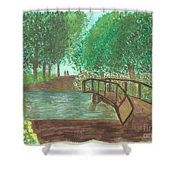 Shower Curtain featuring the painting Riding Through The Woods by Tracey Williams