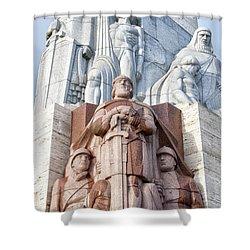 Riga Freedom Monument 02 Shower Curtain by Antony McAulay