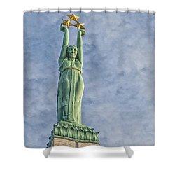 Riga Freedom Monument 04 Shower Curtain by Antony McAulay