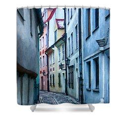 Riga Narrow Street Painting Shower Curtain by Antony McAulay
