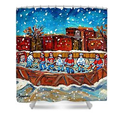Rink Hockey Game Little Montreal Superstars Montreal Memories Snowy City Scene Carole Spandau Shower Curtain by Carole Spandau