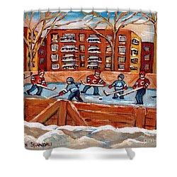 Rink Hockey Game-winter Scene Painting-montreal Street Scenes Shower Curtain by Carole Spandau