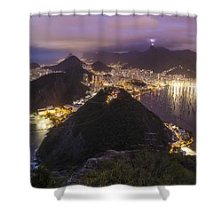 Rio Evening Cityscape Panorama Shower Curtain