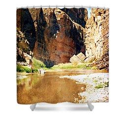 Rio Grande At Santa Elena Canyon Shower Curtain by Judy Hall-Folde