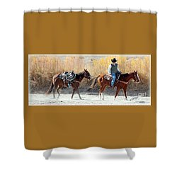 Rio Grande Cowboy Shower Curtain by Barbara Chichester