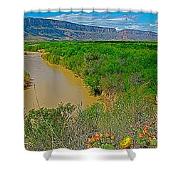 Rio Grande East Of Santa Elena Canyon In  Big Bend National Park-texas Shower Curtain