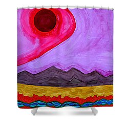 Rio Grande Gorge Original Painting Shower Curtain by Sol Luckman