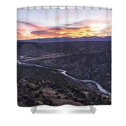 Rio Grande River Sunrise - White Rock New Mexico Shower Curtain by Brian Harig