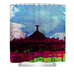 Rio Watercolor Skyline Shower Curtain