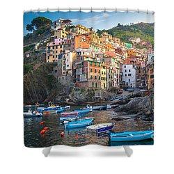 Riomaggiore Boats Shower Curtain