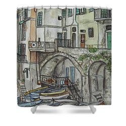 Shower Curtain featuring the painting Riomaggoire Cinque Terre Italy by Malinda  Prudhomme