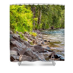 Rip Rap On The Methow River Shower Curtain by Omaste Witkowski