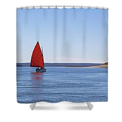 Ripple Catboat With Red Sail And Lighthouse Shower Curtain