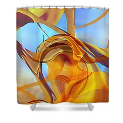 Rising Into Sky Blue Abstract Shower Curtain