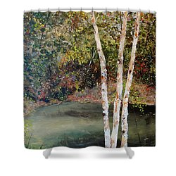 Shower Curtain featuring the painting River Birch by Alan Lakin