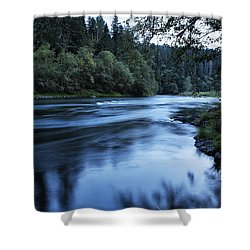 River Blue Shower Curtain by Belinda Greb
