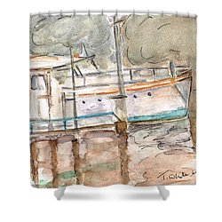 Shower Curtain featuring the painting River Boat  by Teresa White