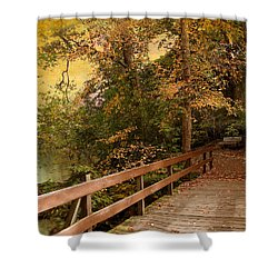 River Crossing Shower Curtain by Jessica Jenney