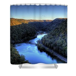 Shower Curtain featuring the photograph River Cut Through The Valley by Jonny D